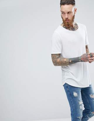 Asos Design Relaxed Longline T-Shirt With Raw Scoop Neck And Curve Hem In Linen Mix In White