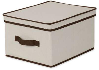 Large Canvas Storage Box in Natural/Coffee