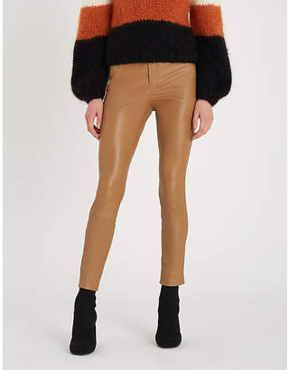 Theory Five-pocket skinny-fit leather trousers
