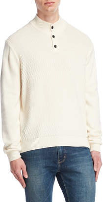 Perry Ellis Quarter-Button Mock Neck Sweater