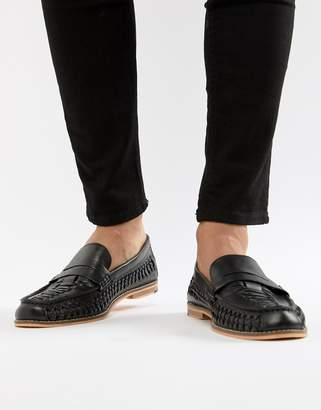 Frank Wright Woven Loafers In Black Leather