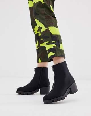 Asos Design DESIGN Rebel chunky zip ankle boots in black