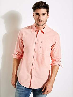 GUESS Men's Long Sleeve Paul Poplin 1 Pocket Shirt