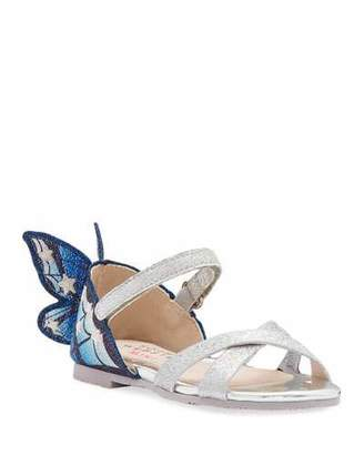 Sophia Webster Chiara Fine Glitter Embroidered Butterfly Wing Sandals, Baby/Toddler