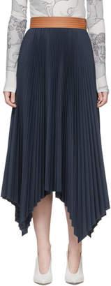 Loewe Navy Pleated Skirt