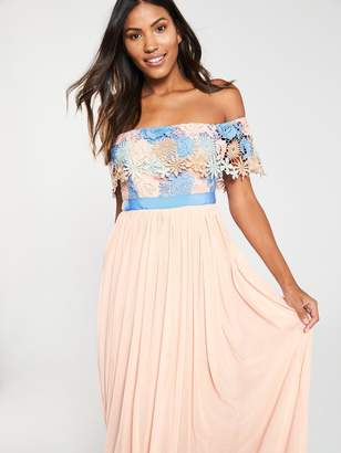 Forever Unique U Collection Bardot Lace Top Pleated Maxi Dress - Multi