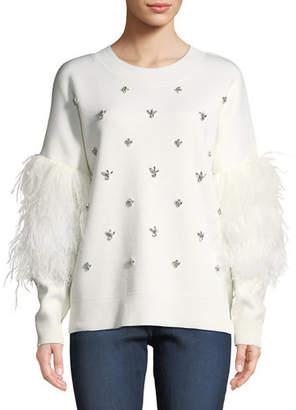 Kobi Halperin Maureen Embellished Crewneck Pullover Sweater w/ Ostrich Feathers