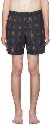 Alexander McQueen Black Jewel Bug Swim Shorts
