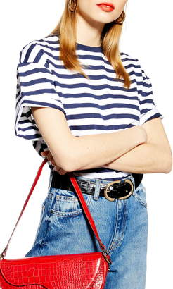 Topshop Stripe Roll Sleeve Tee