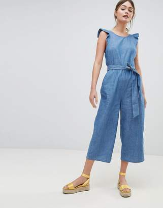 Oasis Wide Leg Ruffle Chambray Jumpsuit