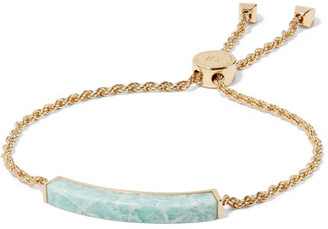 Monica Vinader - Linear Gold Vermeil Amazonite Bracelet - Turquoise $295 thestylecure.com