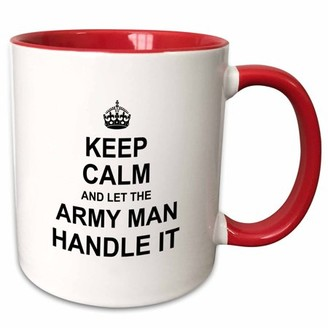 3dRose Keep Calm and Let the Army Man Handle it - fun funny career job pride - Two Tone Red Mug, 11-ounce