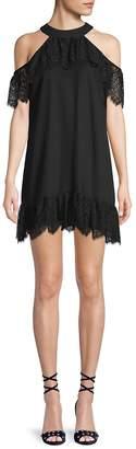 Ella Moss Women's Lace Cold-Shoulder Halter Dress