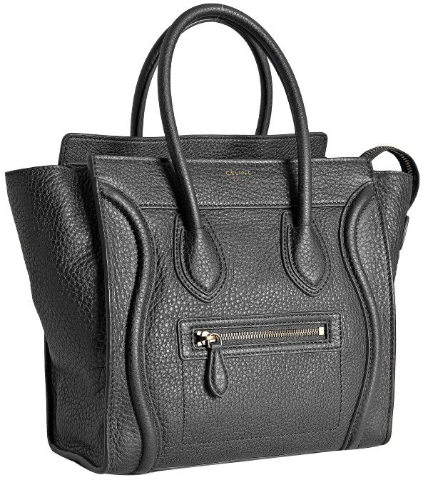 Celine anthracite leather micro luggage shopper tote