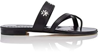 Manolo Blahnik Women's Susahole Leather Slide Sandals