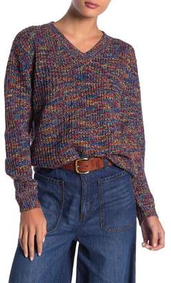 DREAMERS BY DEBUT V-Neck Multi-Colored Knit Sweater