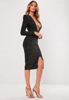 Missguided Black Metallic Stripe Plunge Bodycon Dress