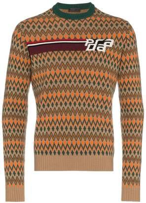 Prada Chevron logo wool pattern knit sweater