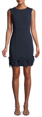 LM Collection Jewel-Neck Sleeveless Ponte Sheath Dress w/ Bow Hem
