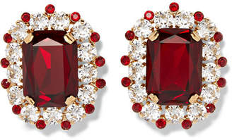Dolce & Gabbana Gold-tone Crystal Clip Earrings - Red