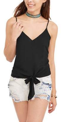 No Comment Juniors' Knotted Cami With Choker Necklace 2Fer