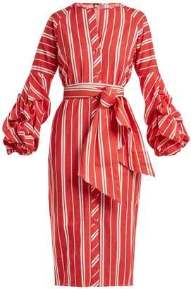 JOHANNA ORTIZ Striped balloon-sleeve linen dress