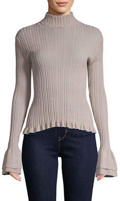 Cinq à Sept Zabrina Ribbed Bell-Sleeve Top