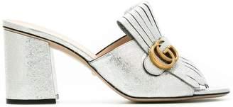 Gucci metallic fringed mules