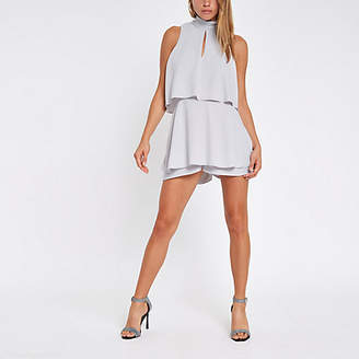 River Island Grey high neck tiered frill romper