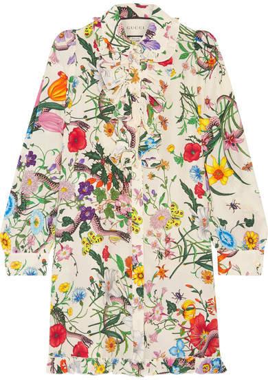Gucci - Ruffled Printed Silk Crepe De Chine Mini Dress - Ivory