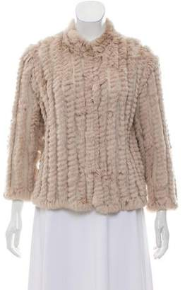 Heartloom Fur-Trimmed Knit Cardigan