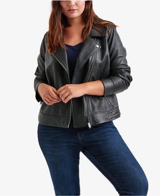 Lucky Brand Trendy Plus Size Studded Leather Moto Jacket