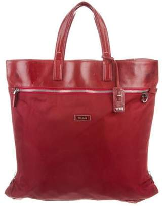 Tumi Leather-Trimmed Nylon Tote Red Leather-Trimmed Nylon Tote