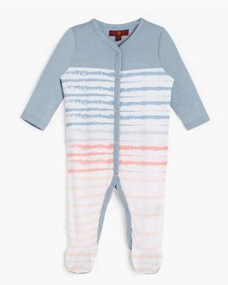 7 For All Mankind Kids Girls 0-9 Footie In Ashley Blue