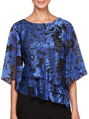 Alex Evenings Plus Floral Illusion-Sleeve Blouse