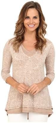 Mod-o-doc Burnout Jersey Double Layer V-Neck Tee Women's T Shirt