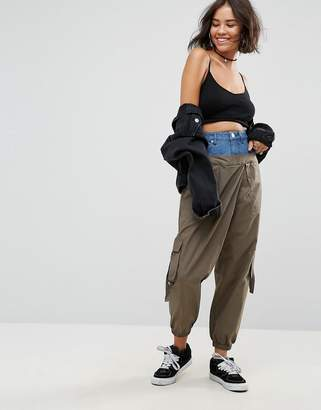 Asos Cargo Trousers With Denim Waistband