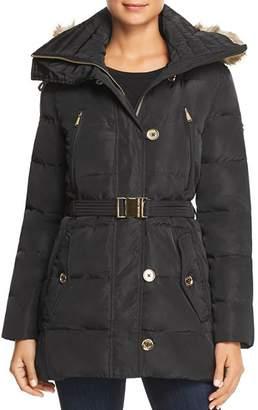 MICHAEL Michael Kors MICHAEL Belted Button-Front Puffer Coat