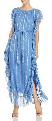 Saylor Ruffled Metallic-Print Maxi Dress