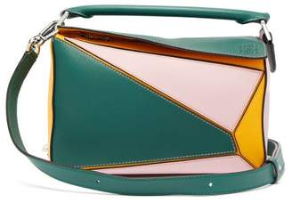 be1b0f040 Loewe Puzzle Small Grained Leather Cross Body Bag - Womens - Green Multi