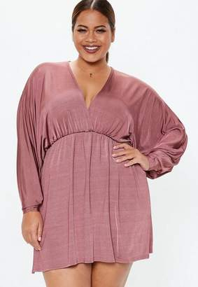 Missguided Plus Size Rose Batwing Slinky Mini Dress
