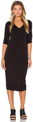 Michael Stars 3/4 Sleeve V Neck Midi Dress in Black $88 thestylecure.com