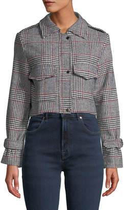 Few Moda Houndstooth-Check Cropped Jacket