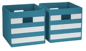 Viv + Rae Traditional Stripes Folding Storage Fabric Bin