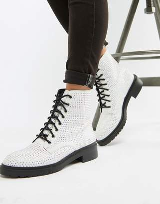 Asos Design DESIGN Ally lace up boots in rhinestone