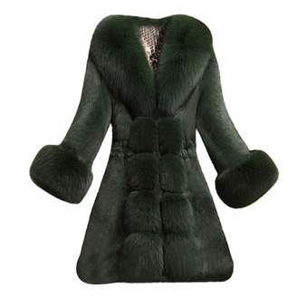 Kikoy womens jackets Gorgeous Coat,KIKOY Womens Long Section of Faux Mink Fox with Cap Fur Jackets