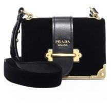 pradaPrada Cahier Velvet & Leather Shoulder Bag