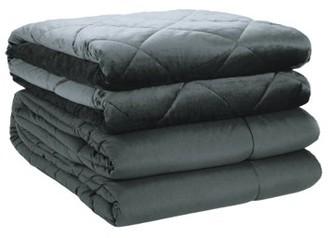St. James Home 2pc Velvet blanket & Microfiber Comforter Set, Dark Gray, King