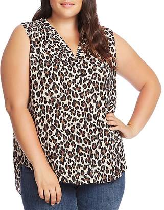 Vince Camuto Plus Sleeveless Leopard-Print Top