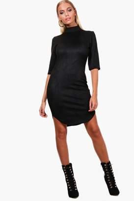 boohoo Suedette Curved Hem Bodycon Dress